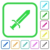 Sword vivid colored flat icons - Sword vivid colored flat icons in curved borders on white background