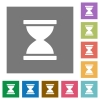 Hourglass square flat icons - Hourglass flat icons on simple color square backgrounds