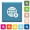 Online Bitcoin payment white icons on edged square buttons - Online Bitcoin payment white icons on edged square buttons in various trendy colors