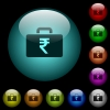 Indian Rupee bag icons in color illuminated glass buttons - Indian Rupee bag icons in color illuminated spherical glass buttons on black background. Can be used to black or dark templates