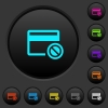 Credit card disabled dark push buttons with color icons - Credit card disabled dark push buttons with vivid color icons on dark grey background