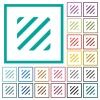 Texture flat color icons with quadrant frames on white background - Texture flat color icons with quadrant frames