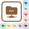 FTP put simple icons - FTP put simple icons in color rounded square frames on white background
