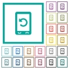 Mobile redial flat color icons with quadrant frames - Mobile redial flat color icons with quadrant frames on white background