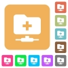 FTP create folder flat icons on rounded square vivid color backgrounds. - FTP create folder rounded square flat icons