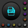 MP3 file format dark push buttons with color icons - MP3 file format dark push buttons with vivid color icons on dark grey background