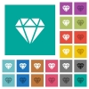 Diamond square flat multi colored icons - Diamond multi colored flat icons on plain square backgrounds. Included white and darker icon variations for hover or active effects.
