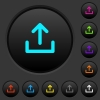 Upload symbol dark push buttons with vivid color icons on dark grey background