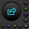 Export symbol dark push buttons with color icons - Export symbol dark push buttons with vivid color icons on dark grey background