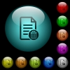 Delete document icons in color illuminated glass buttons - Delete document icons in color illuminated spherical glass buttons on black background. Can be used to black or dark templates