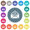 Open mail with email symbol flat white icons on round color backgrounds - Open mail with email symbol flat white icons on round color backgrounds. 17 background color variations are included.