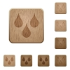 Water drops on rounded square carved wooden button styles - Water drops wooden buttons