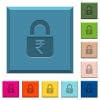 Locked rupees engraved icons on edged square buttons - Locked rupees engraved icons on edged square buttons in various trendy colors
