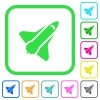 Space shuttle vivid colored flat icons - Space shuttle vivid colored flat icons in curved borders on white background