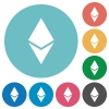 Ethereum digital cryptocurrency flat round icons - Ethereum digital cryptocurrency flat white icons on round color backgrounds