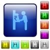 Rupee cash machine color square buttons - Rupee cash machine icons in rounded square color glossy button set