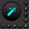 Magic wand dark push buttons with vivid color icons on dark grey background - Magic wand dark push buttons with color icons