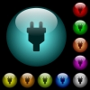 Power connector icons in color illuminated spherical glass buttons on black background. Can be used to black or dark templates - Power connector icons in color illuminated glass buttons