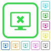 Cancel display settings vivid colored flat icons - Cancel display settings vivid colored flat icons in curved borders on white background