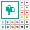 Mailbox flat color icons with quadrant frames - Mailbox flat color icons with quadrant frames on white background
