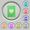 Seven of hearts card push buttons - Seven of hearts card color icons on sunk push buttons