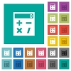 Pocket calculator square flat multi colored icons - Pocket calculator multi colored flat icons on plain square backgrounds. Included white and darker icon variations for hover or active effects.