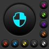 Shield dark push buttons with color icons - Shield dark push buttons with vivid color icons on dark grey background