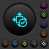 Accept size dark push buttons with color icons - Accept size dark push buttons with vivid color icons on dark grey background