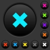 Cancel dark push buttons with color icons - Cancel dark push buttons with vivid color icons on dark grey background
