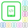 Mobile scripting vivid colored flat icons in curved borders on white background - Mobile scripting vivid colored flat icons