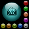 Open mail with email symbol icons in color illuminated glass buttons - Open mail with email symbol icons in color illuminated spherical glass buttons on black background. Can be used to black or dark templates