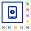 Mobile clock flat color icons in square frames on white background - Mobile clock flat framed icons