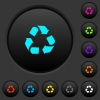 Recycling dark push buttons with vivid color icons on dark grey background - Recycling dark push buttons with color icons