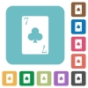 Seven of clubs card rounded square flat icons - Seven of clubs card white flat icons on color rounded square backgrounds