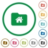 Home folder flat icons with outlines - Home folder flat color icons in round outlines on white background