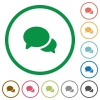 Discussion flat icons with outlines - Discussion flat color icons in round outlines on white background
