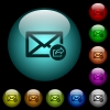 Export mail icons in color illuminated spherical glass buttons on black background. Can be used to black or dark templates - Export mail icons in color illuminated glass buttons