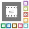 Movie processing flat icons on simple color square backgrounds - Movie processing square flat icons