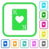 King of hearts card vivid colored flat icons - King of hearts card vivid colored flat icons in curved borders on white background