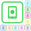 Mobile warranty vivid colored flat icons - Mobile warranty vivid colored flat icons in curved borders on white background