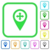 Move GPS map location vivid colored flat icons - Move GPS map location vivid colored flat icons in curved borders on white background