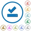 Successfully saved icons with shadows and outlines - Successfully saved flat color vector icons with shadows in round outlines on white background