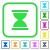 Hourglass vivid colored flat icons - Hourglass vivid colored flat icons in curved borders on white background
