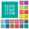 Code analysis square flat multi colored icons - Code analysis multi colored flat icons on plain square backgrounds. Included white and darker icon variations for hover or active effects.