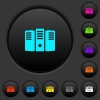 Server hosting dark push buttons with vivid color icons on dark grey background - Server hosting dark push buttons with color icons