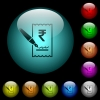 Signing Rupee cheque icons in color illuminated glass buttons - Signing Rupee cheque icons in color illuminated spherical glass buttons on black background. Can be used to black or dark templates