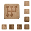 Manual shift wooden buttons - Manual shift on rounded square carved wooden button styles