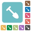 Shovel white flat icons on color rounded square backgrounds - Shovel rounded square flat icons