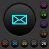 Message dark push buttons with vivid color icons on dark grey background - Message dark push buttons with color icons