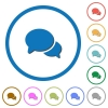 Discussion icons with shadows and outlines - Discussion flat color vector icons with shadows in round outlines on white background